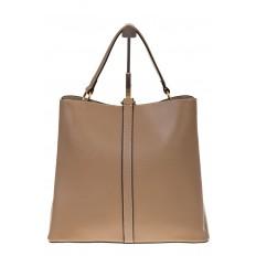 На фото 3 - Бежевая сумка из натуральной кожи на каждый день 6101AMK5