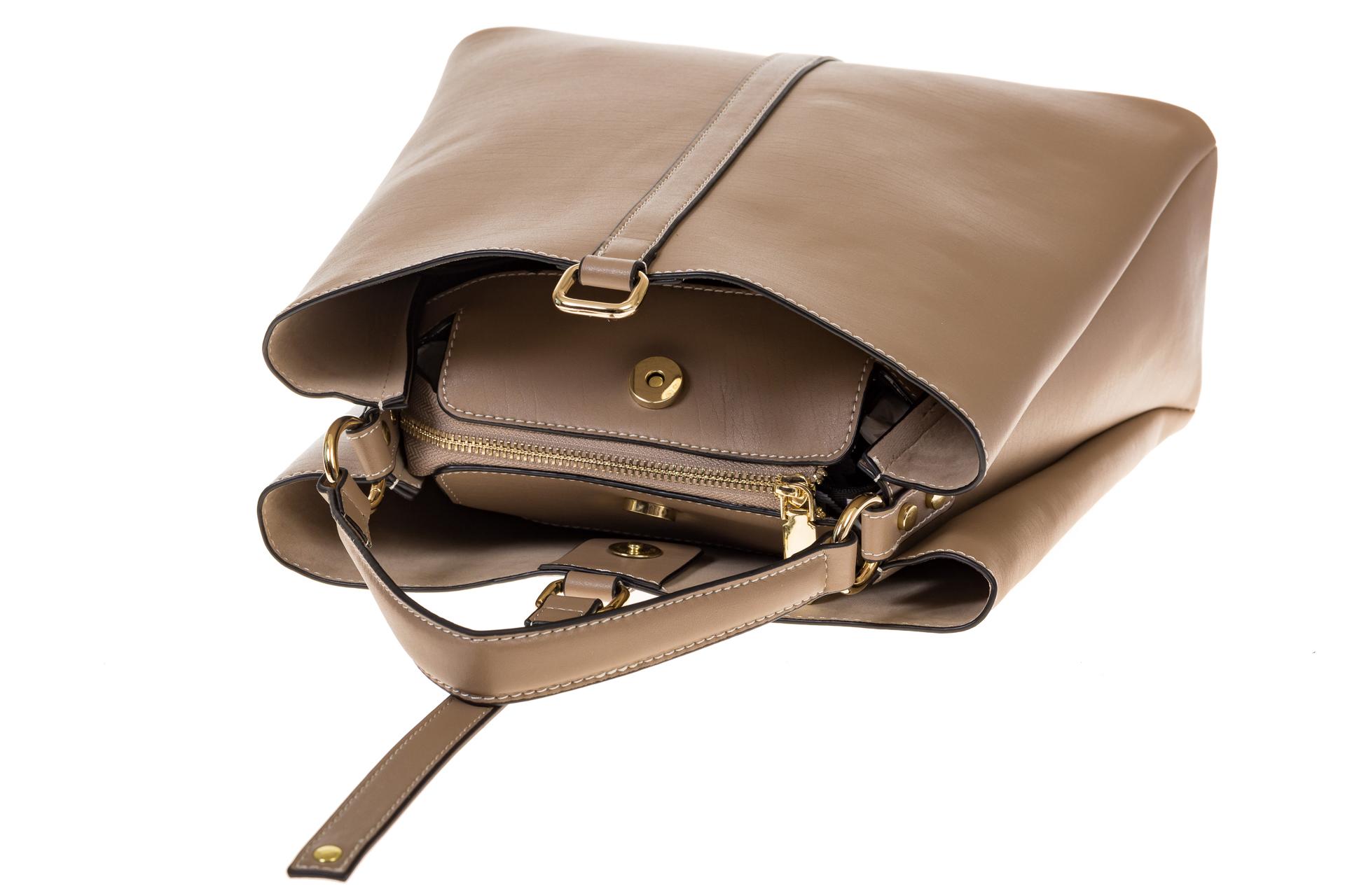 На фото 4 - Бежевая сумка из натуральной кожи на каждый день 6101AMK5