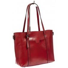 На фото 1 - Сумка женская шоппер из натуральной кожи, цвет красный