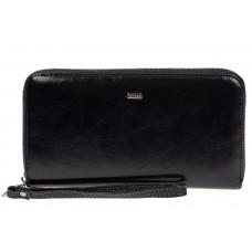 На фото 1 - Прямоугольное портмоне-клатч из кожи, цвет чёрный