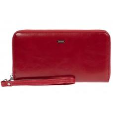 На фото 1 - Прямоугольное портмоне-клатч из кожи, цвет красный