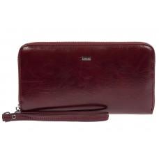 На фото 1 - Прямоугольное портмоне-клатч из кожи, цвет бордовый