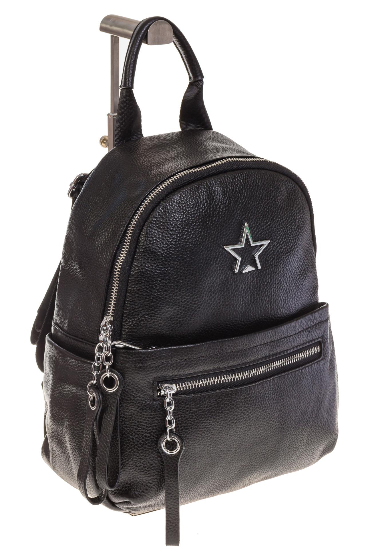 На фото 1 - Черный городской рюкзак из натуральной кожи 6105
