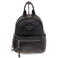 На фото 2 - Черный городской рюкзак из натуральной кожи 6105