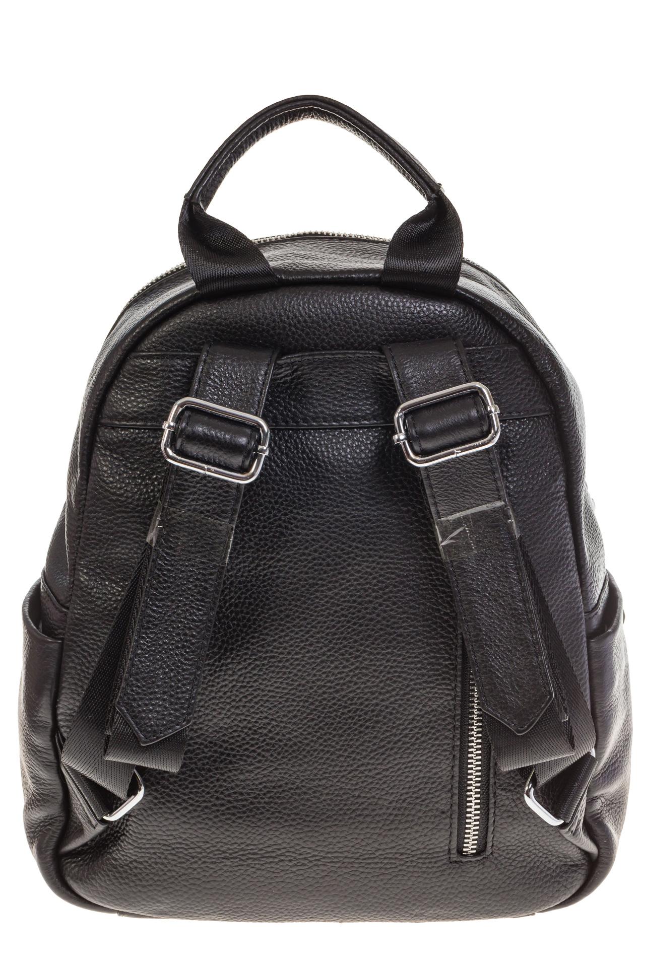 На фото 3 - Черный городской рюкзак из натуральной кожи 6105