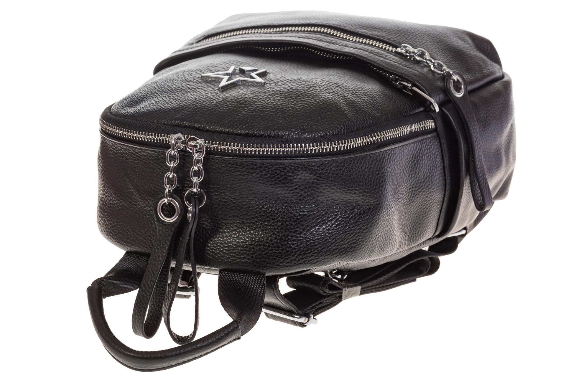 На фото 4 - Черный городской рюкзак из натуральной кожи 6105