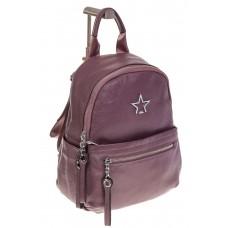 На фото 1 - Пудровый городской рюкзак из натуральной кожи 6105