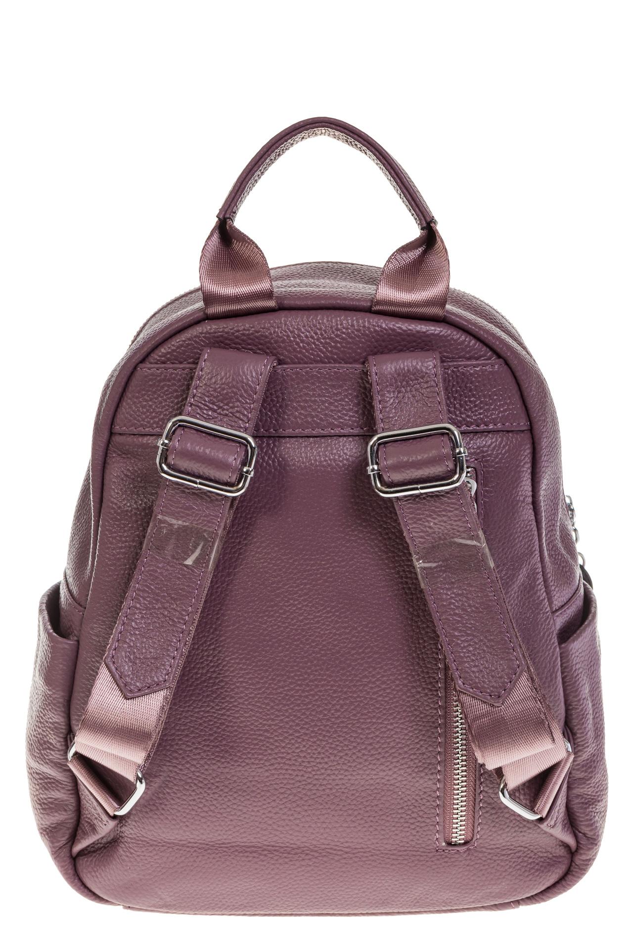На фото 3 - Пудровый городской рюкзак из натуральной кожи 6105