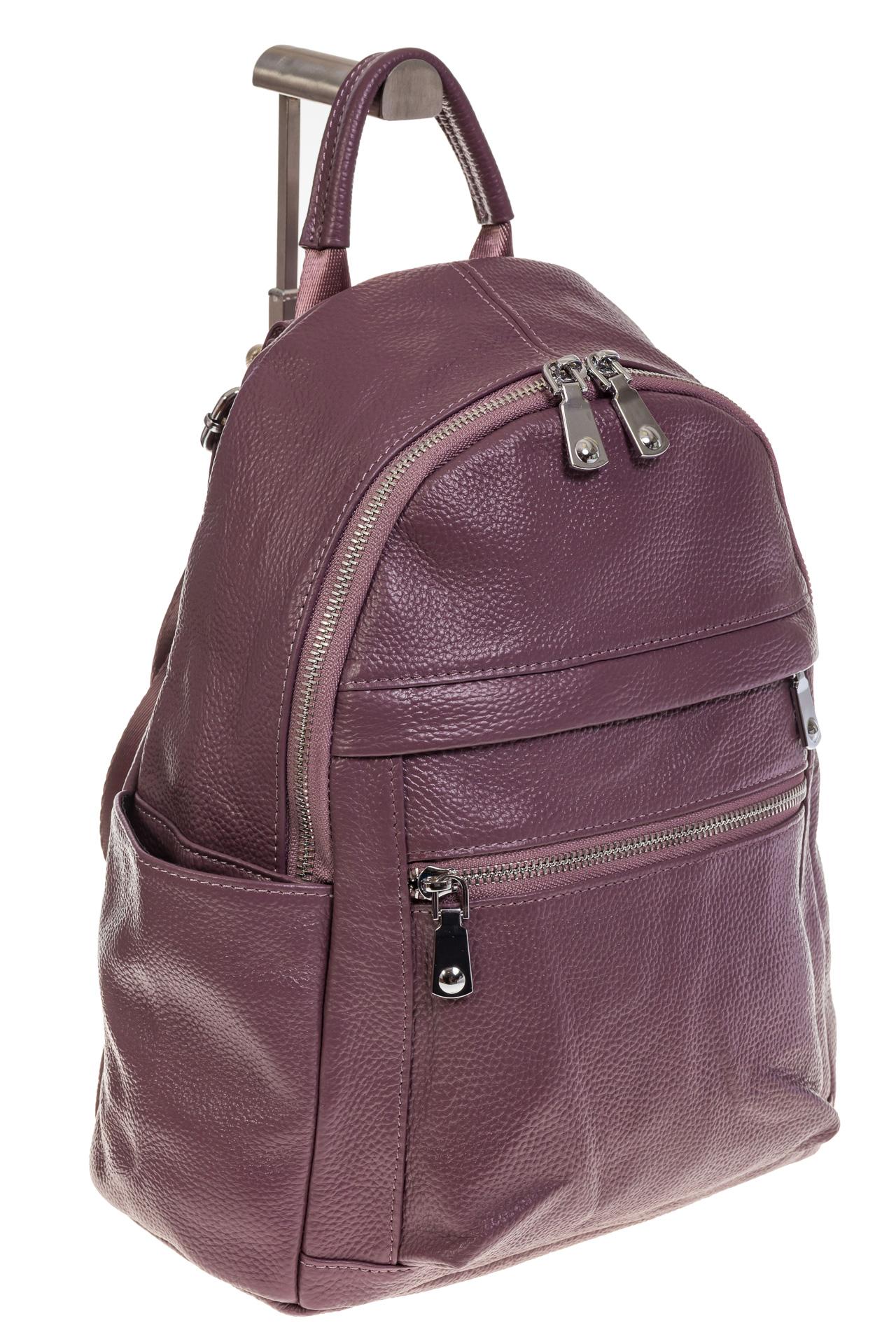 На фото 1 - Женский городской рюкзак цвета пудра 6107