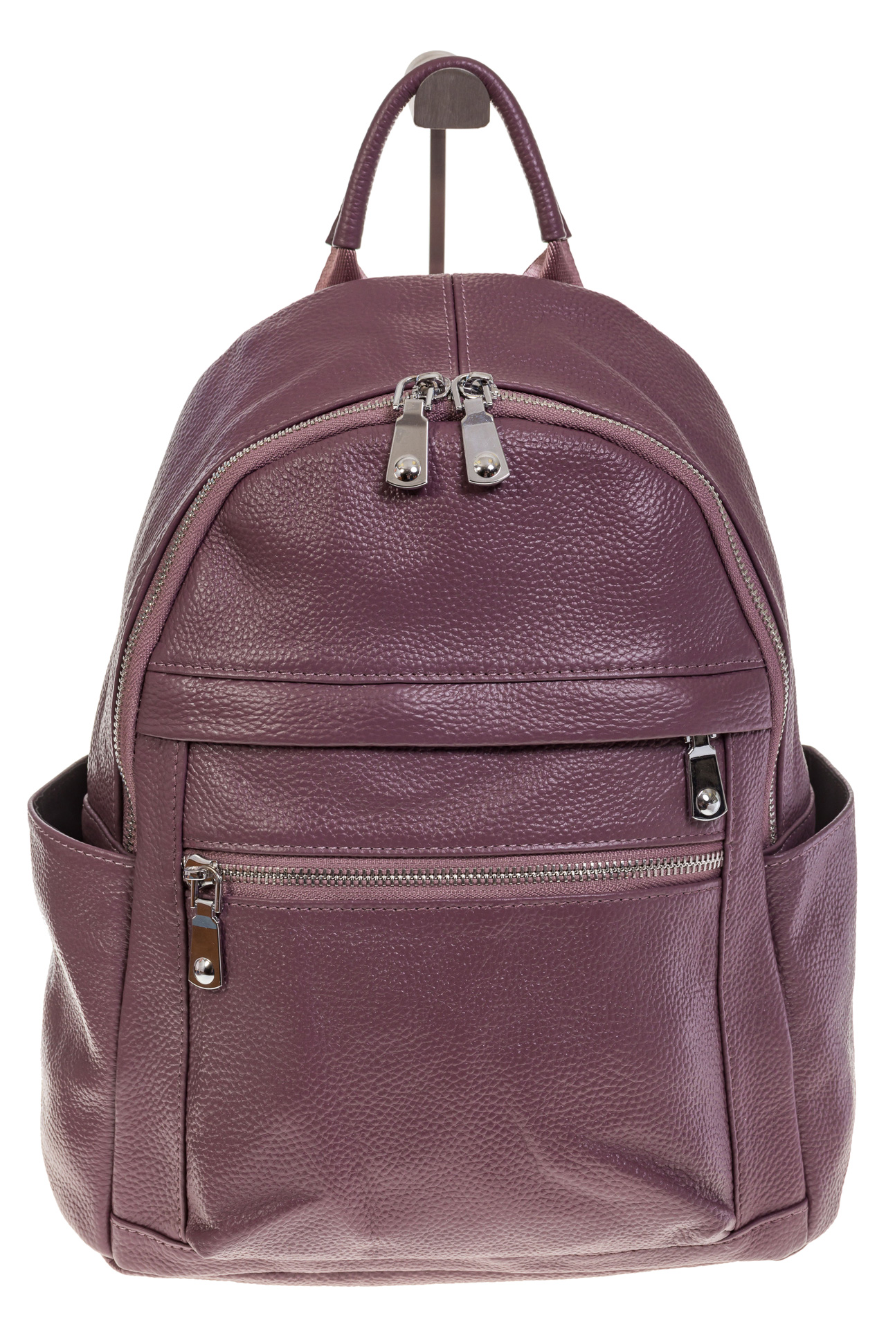 На фото 2 - Женский городской рюкзак цвета пудра 6107