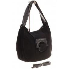 На фото 1 - Интересная замшевая сумка черного цвета
