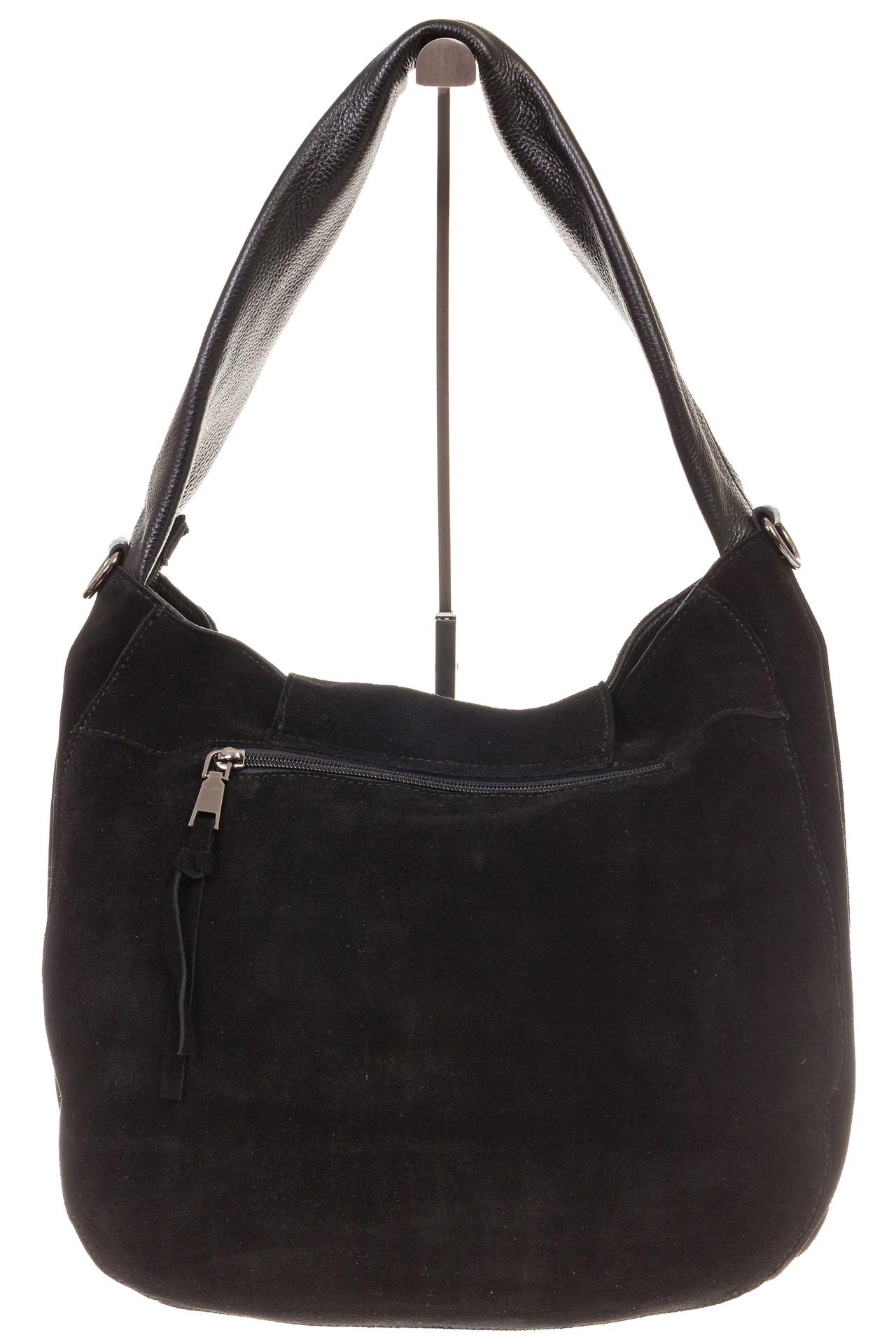 На фото 3 - Интересная замшевая сумка черного цвета