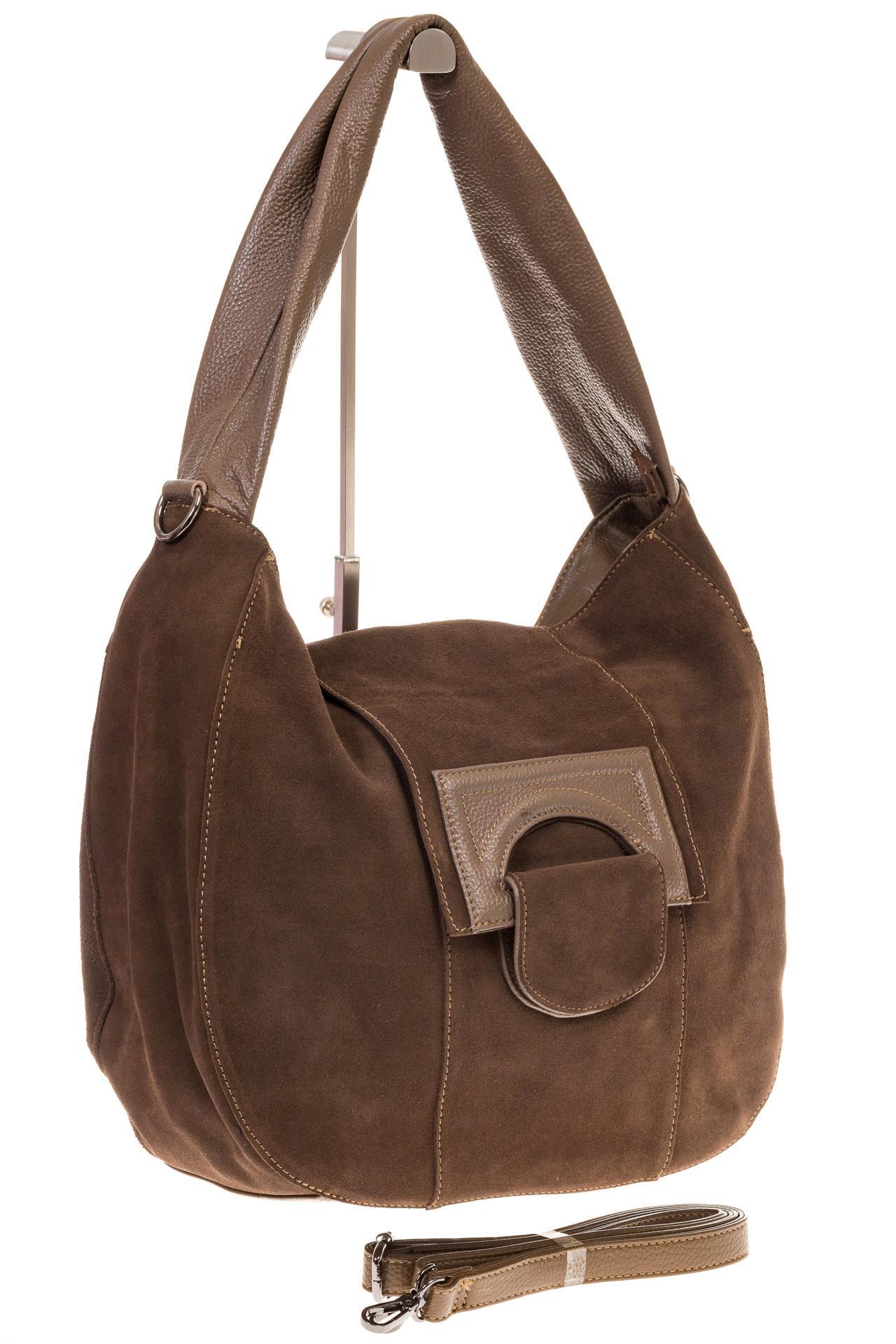 На фото 1 - Интересная замшевая сумка коричневого цвета