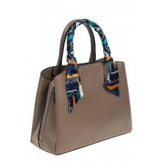 На фото 1 - Женская сумка из натуральной кожи с ярким твилли, цвет серый