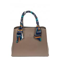 На фото 2 - Женская сумка из натуральной кожи с ярким твилли, цвет серый