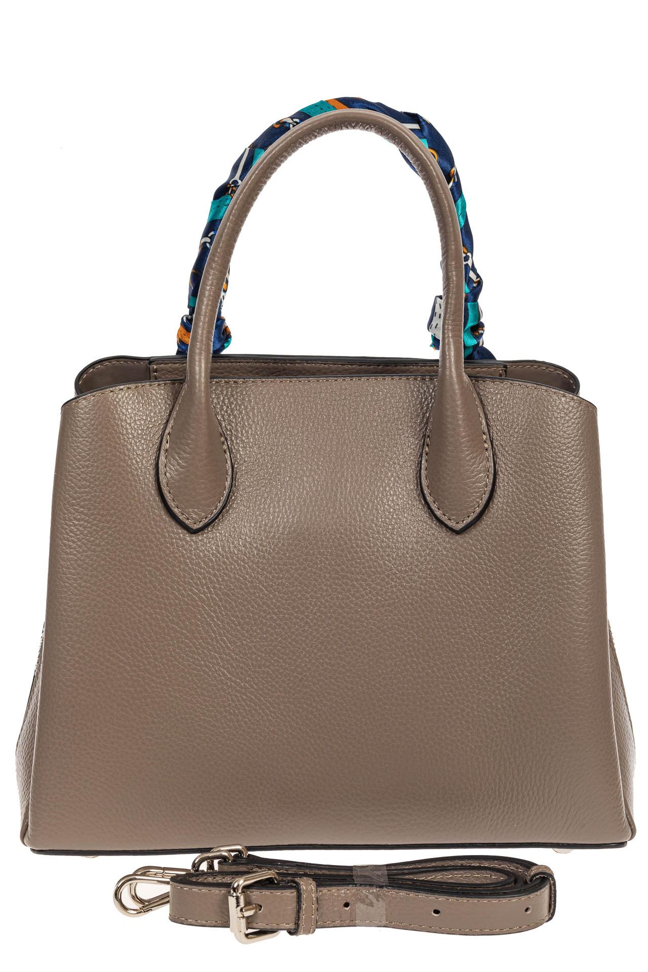 На фото 3 - Женская сумка из натуральной кожи с ярким твилли, цвет серый