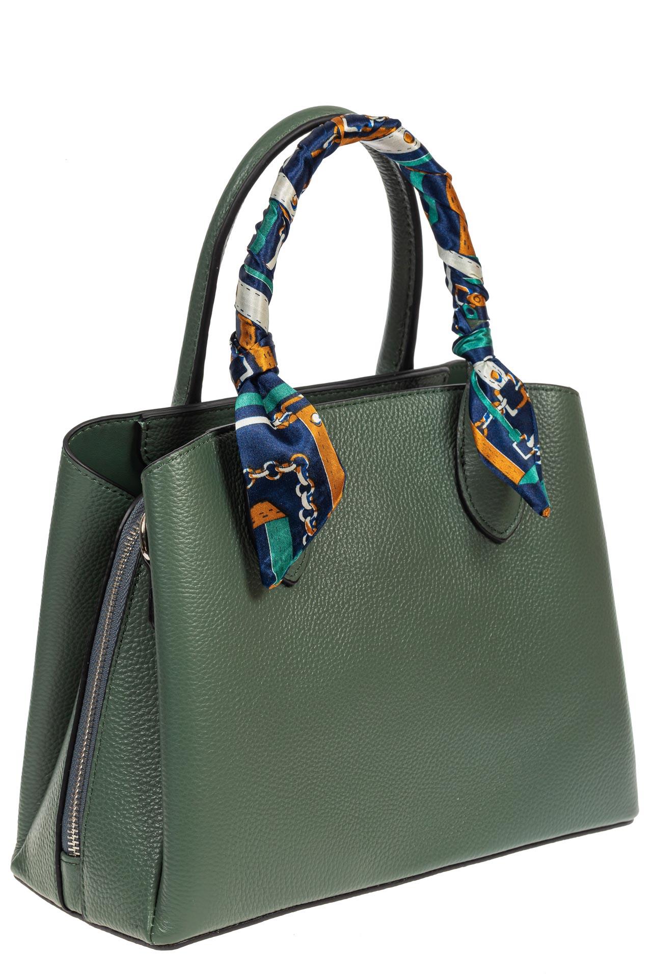 На фото 1 - Женская сумка из натуральной кожи с ярким твилли, цвет бирюзовый