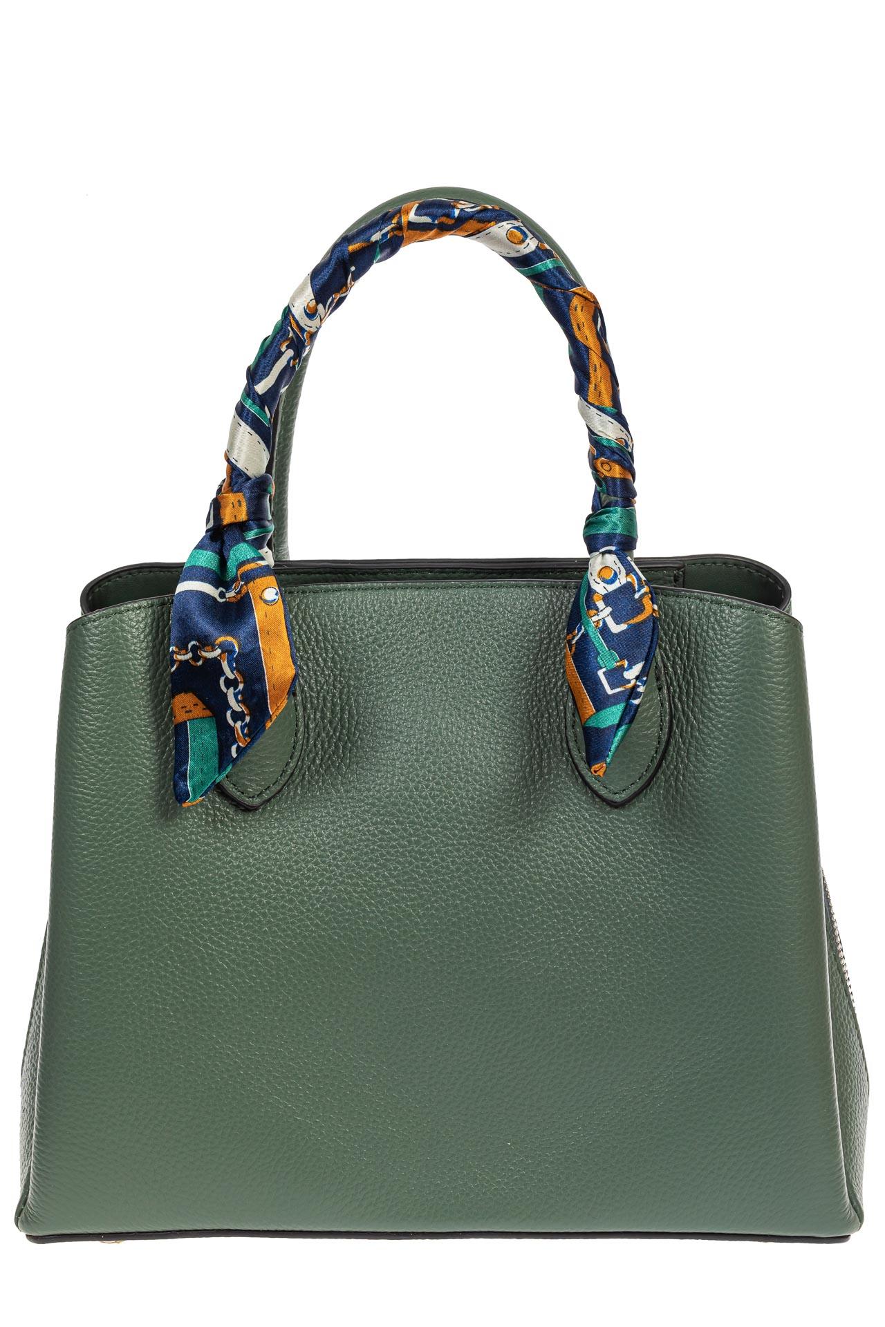 На фото 2 - Женская сумка из натуральной кожи с ярким твилли, цвет бирюзовый