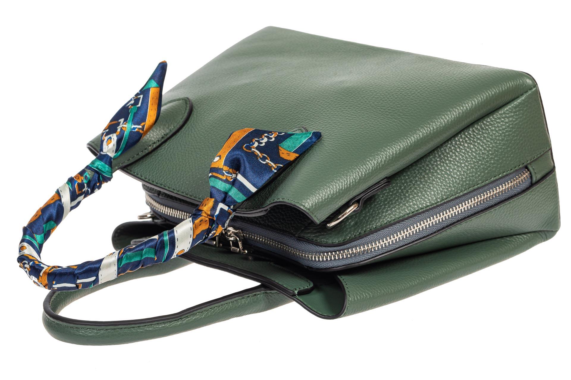 На фото 4 - Женская сумка из натуральной кожи с ярким твилли, цвет бирюзовый