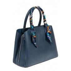 На фото 1 - Женская сумка из натуральной кожи с ярким твилли, цвет синий