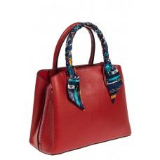На фото 1 - Женская сумка из натуральной кожи с ярким твилли, цвет красный
