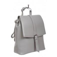На фото 1 - Рюкзак-трансформер женский из гладкой экокожи, цвет серый