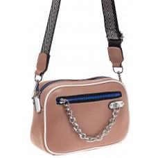 На фото 1 - Молодежная сумка из натуральной кожи, цвет бежевый