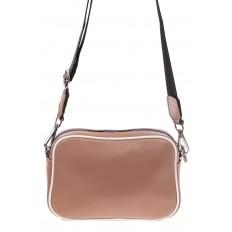На фото 2 - Молодежная сумка из натуральной кожи, цвет бежевый