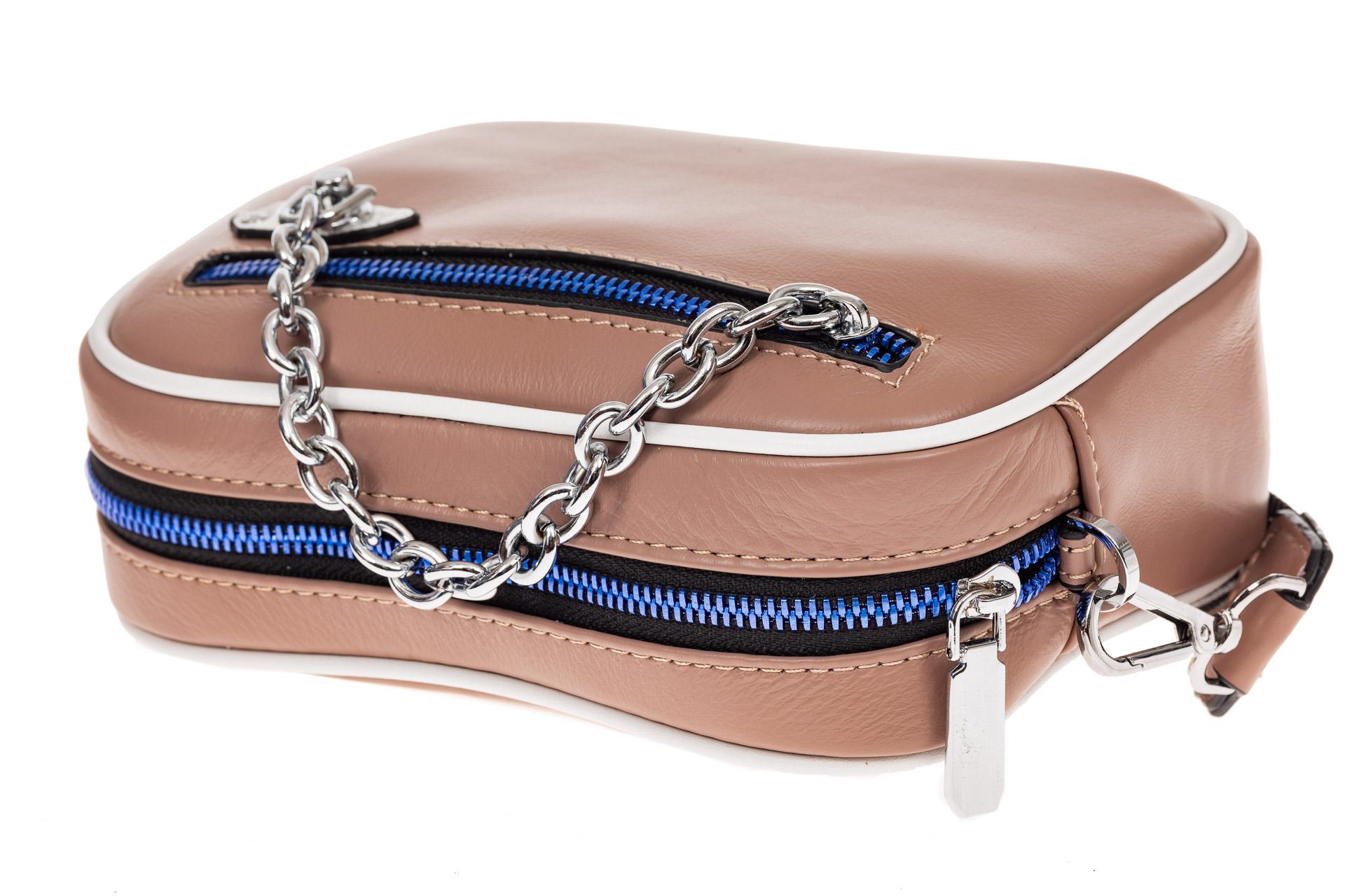 На фото 3 - Молодежная сумка из натуральной кожи, цвет бежевый