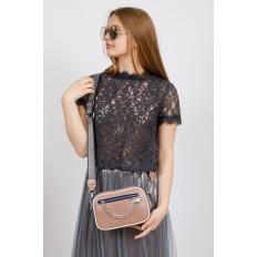 На фото 4 - Молодежная сумка из натуральной кожи, цвет бежевый