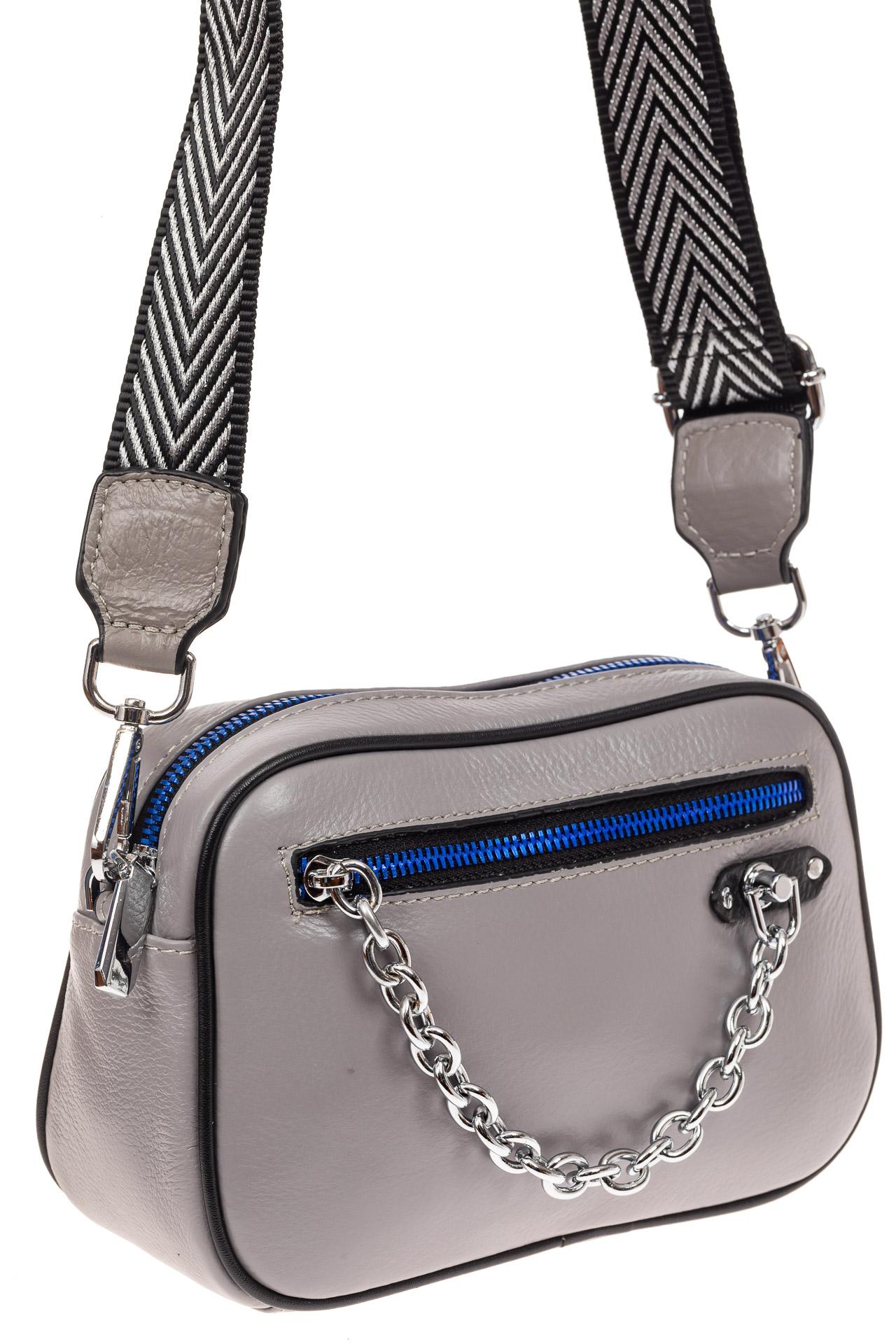 Молодежная сумка из натуральной кожи, цвет серый