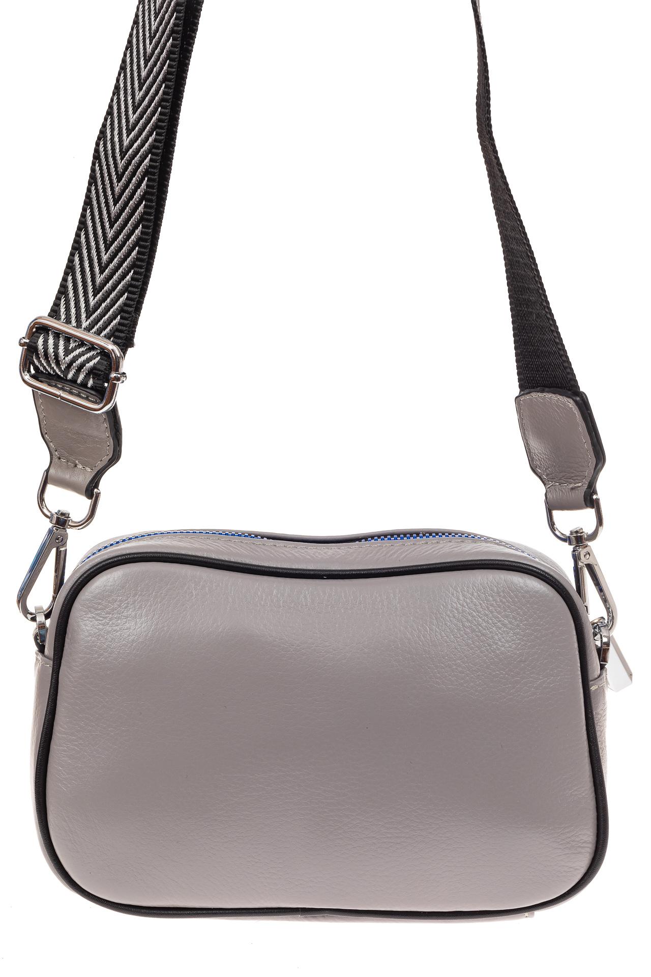 На фото 2 - Молодежная сумка из натуральной кожи, цвет серый