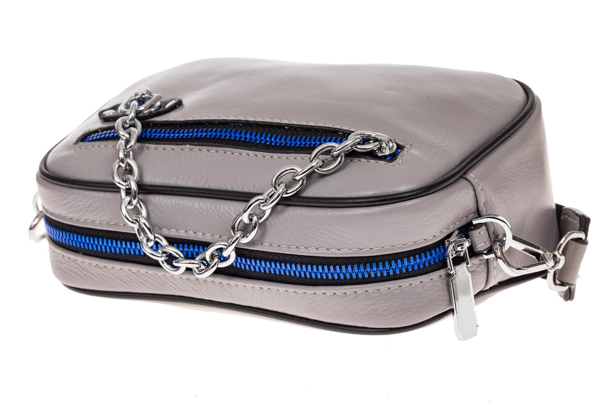 На фото 3 - Молодежная сумка из натуральной кожи, цвет серый