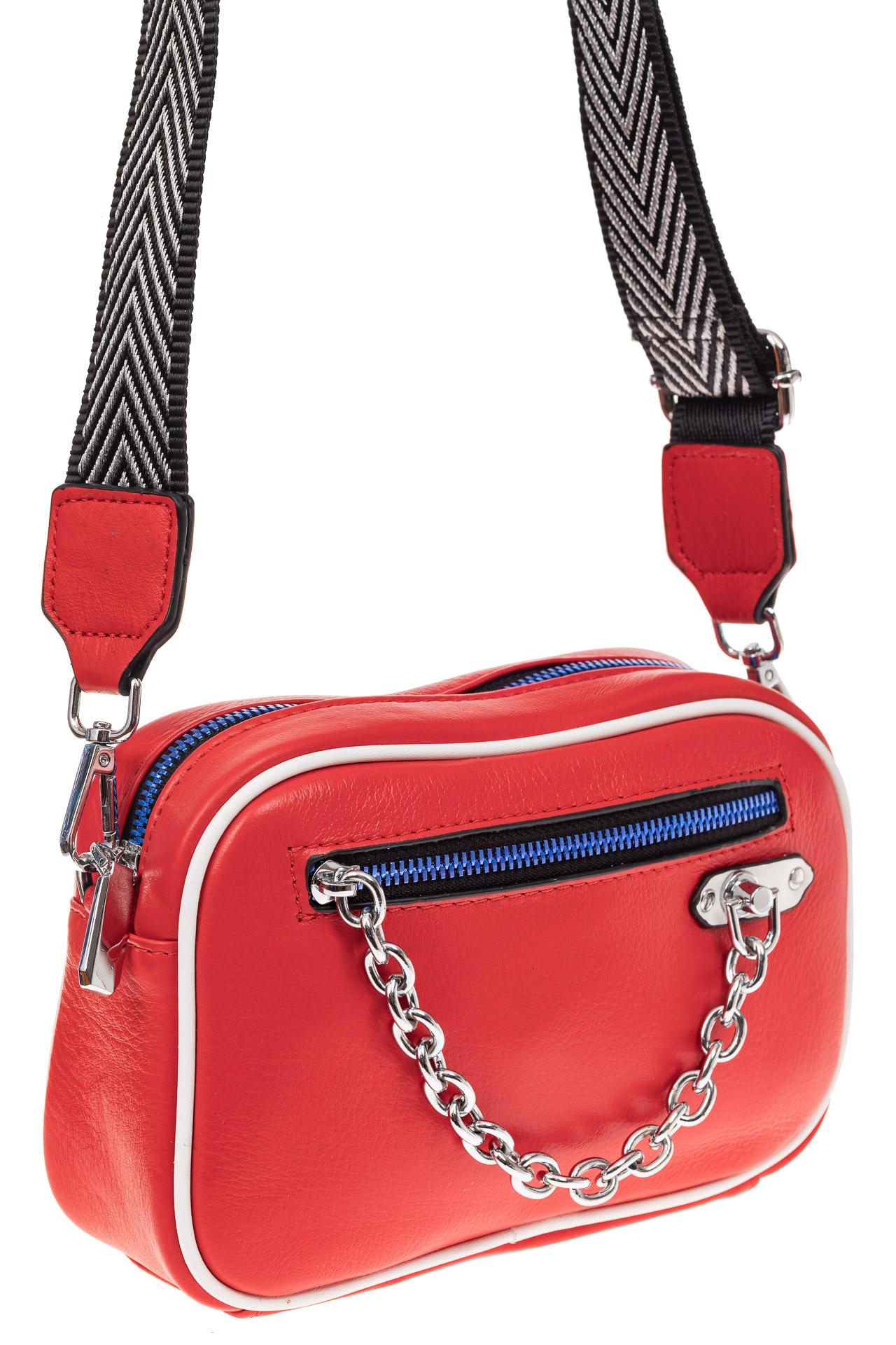 Молодежная сумка из натуральной кожи, цвет красный
