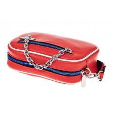 На фото 3 - Молодежная сумка из натуральной кожи, цвет красный