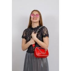 На фото 4 - Молодежная сумка из натуральной кожи, цвет красный