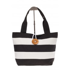 На фото 2 - Пляжная сумка в черно-белую полоску 6216