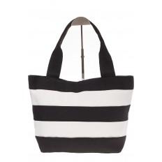 На фото 3 - Пляжная сумка в черно-белую полоску 6216