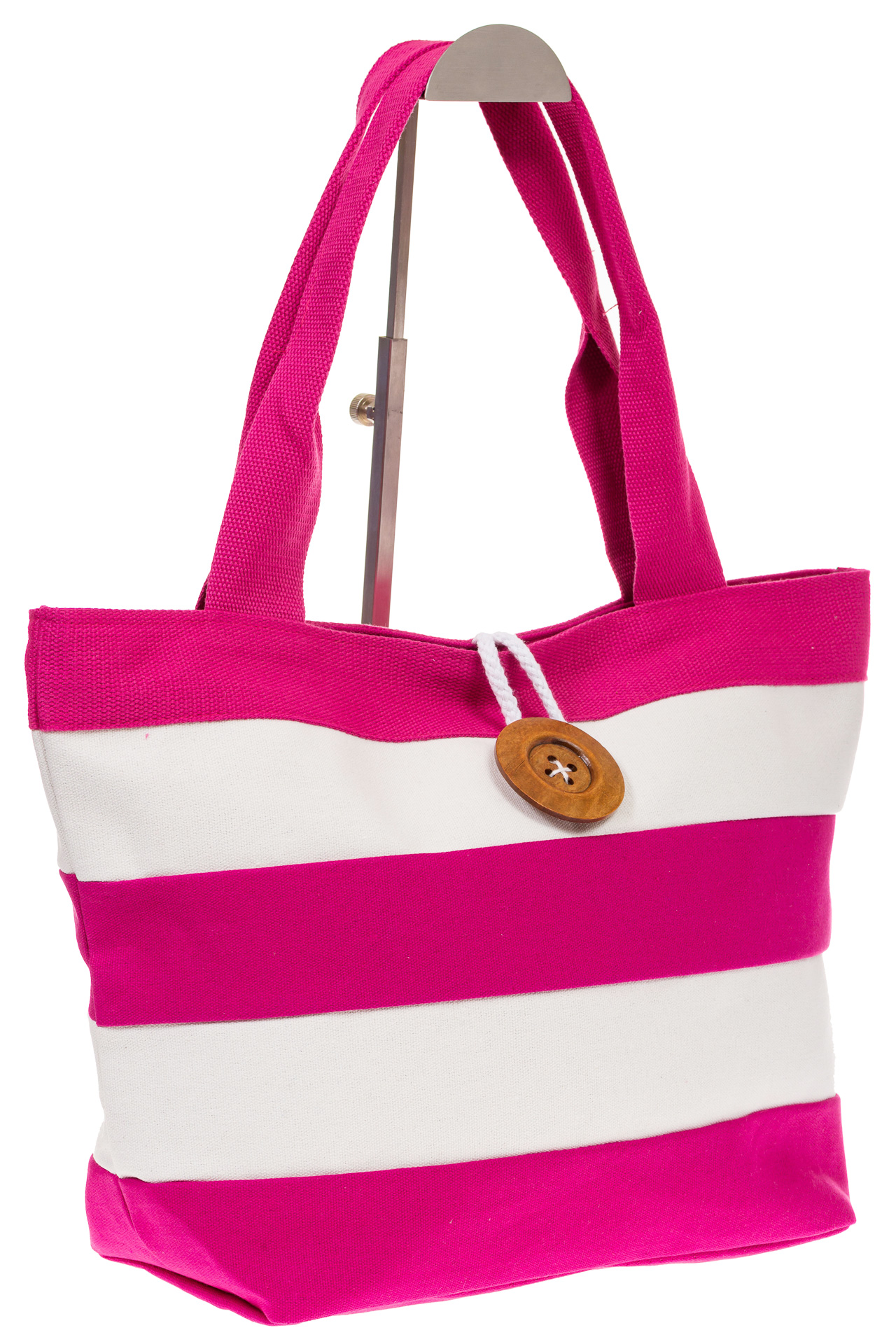 на фото Пляжная сумка в розовую и белую полоску 6216