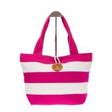 На фото 2 - Пляжная сумка в розовую и белую полоску 6216