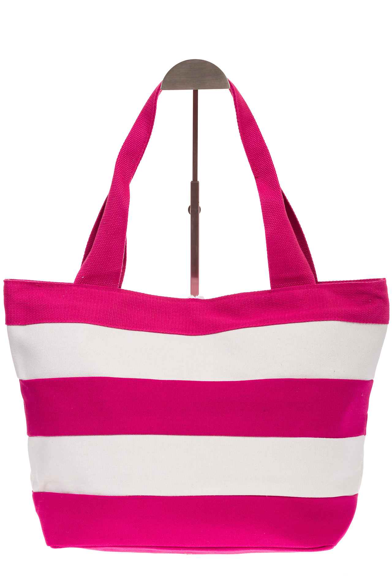 На фото 3 - Пляжная сумка в розовую и белую полоску 6216