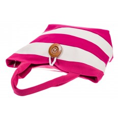 На фото 4 - Пляжная сумка в розовую и белую полоску 6216