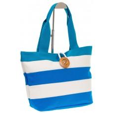на фото Пляжная сумка в голубую и белую полоску 6216