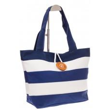 на фото Пляжная сумка в сине-белую полоску 6216