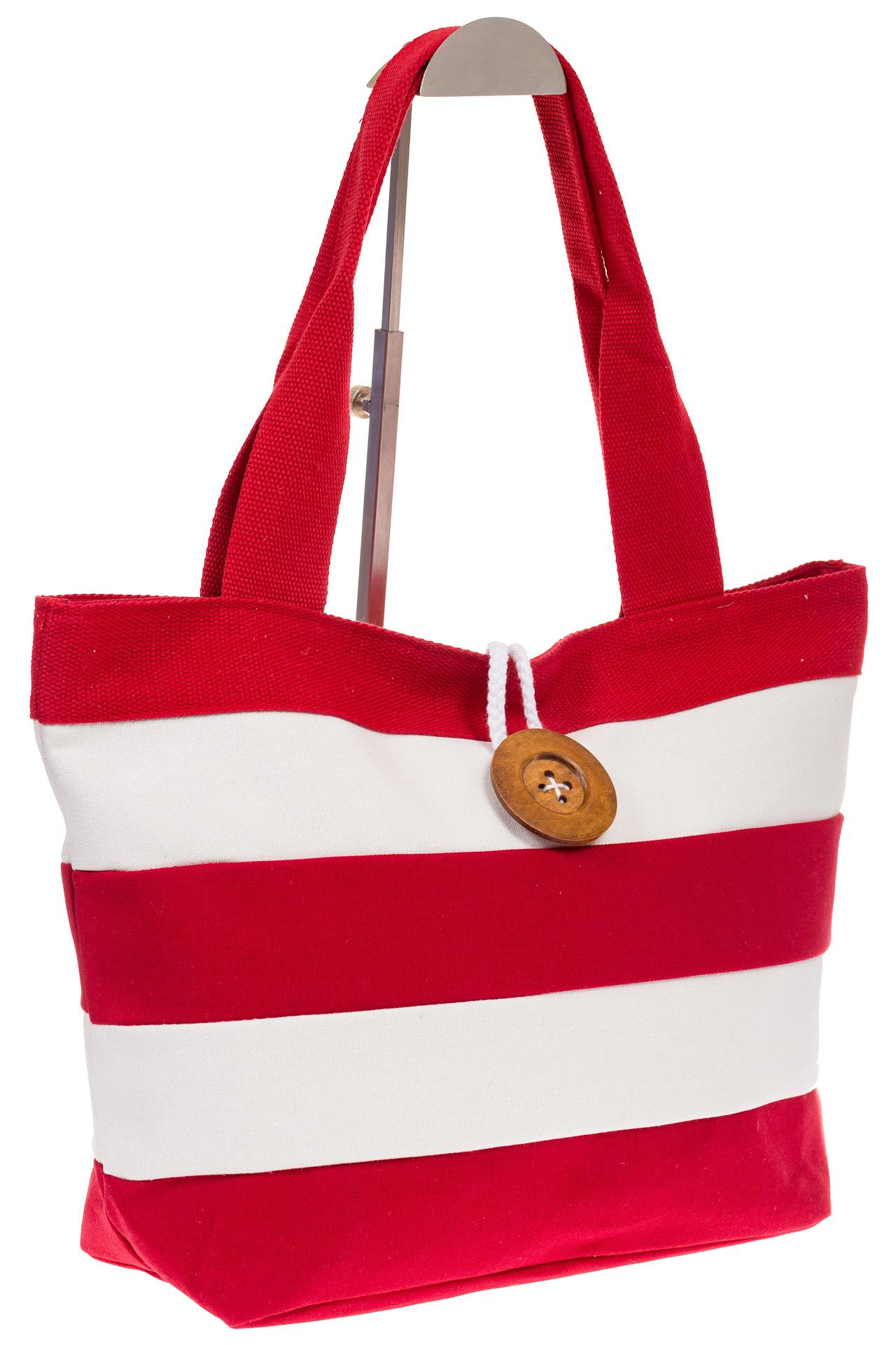 на фото Пляжная сумка в красно-белую полоску 6216