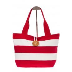 На фото 2 - Пляжная сумка в красно-белую полоску 6216