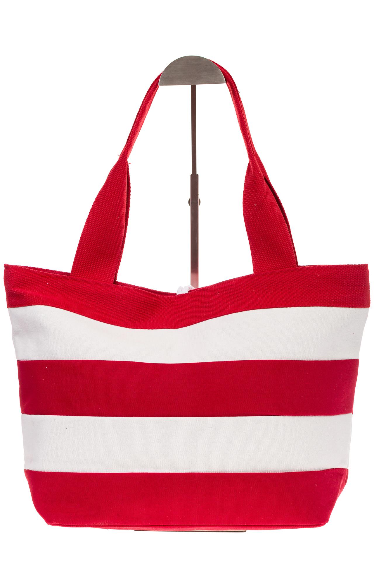На фото 3 - Пляжная сумка в красно-белую полоску 6216