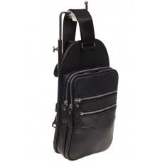 На фото 1 - Мужской sling bag из натуральной кожи, цвет черный