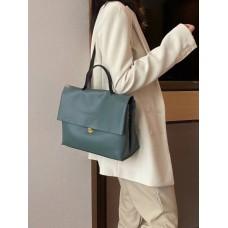 На фото 1 - Мягкая сумка из натуральной кожи  бирюзового цвета