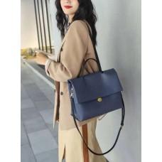 На фото 1 - Мягкая сумка из натуральной кожи  синего цвета